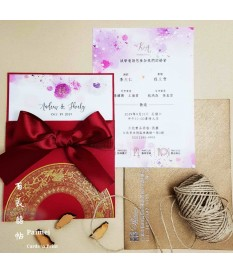 緞帶插卡喜帖 ribbon wedding invitations SN.S9002