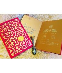 L10011-鐳雕婚卡+客製封蠟貼 (250gsm古銅內頁紙)