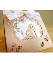 客製英文名鐳雕緞帶喜帖-L16003(會飛的蝴蝶)