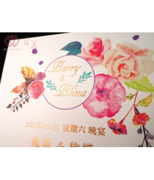 手工燙金x水彩風婚卡 L6501