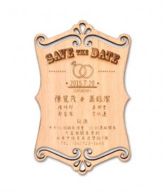 台灣檜木片x雷射雕刻工藝x喜帖 W40006