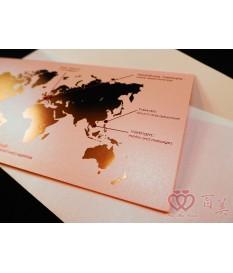 客製愛的地圖x登機證機票型婚卡 P12002