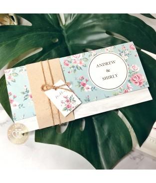 《鄉村婚禮》P9004 (海洋綠色鄉村綁繩封套式喜帖)